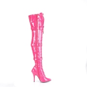Patent 13 cm SEDUCE-3028 Fuchsia overknee boots with laces