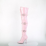 Patent 13 cm SEDUCE-3028 Rosa overknee boots with laces