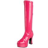 Pink 11 cm EXOTICA-2000 retro plateaustiefel blockabsatz lackstiefel