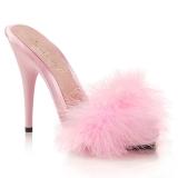 Pink 13 cm POISE-501F Mules Schuhe mit Marabou Federn - Plüsch