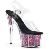Pink 18 cm ADORE-708CG glitter plateau high heels