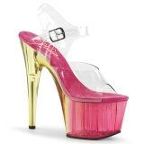 Pink 18 cm ADORE-708MCT Acryl plateau high heels