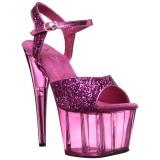 Pink 18 cm ADORE-710GT glitter plateau high heels