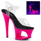 Pink 18 cm MOON-708UV Sandaletten mit Neon Plateau