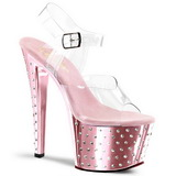 Pink 18 cm Pleaser STARDUST-708 Chrome Plateau High Heels