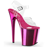 Pink 20 cm FLAMINGO-808 Chrome Plateau High Heels