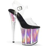 Pink 20 cm FLAMINGO-808HGI Hologramm plateau high heels