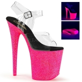 Pink 20 cm FLAMINGO-808UVG Neon Plateau Sandaletten Acryl Absätzen