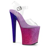Pink 20 cm XTREME-808OMBRE glitter plateau high heels