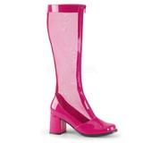 Pink 8,5 cm GOGO-307 Netz Damenstiefel mit hohem Absatz