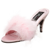 Pink 8 cm AMOUR-03 Mules Schuhe mit Marabou Federn - Plüsch