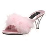 Pink 8 cm BELLE-301F Mules Schuhe mit Marabou Federn - Plüsch