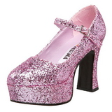 Pink Glitter 11 cm MARYJANE-50G Plateau Pumps Mary Jane