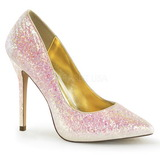 Pink Glitter 13 cm AMUSE-20G Hohe Pumps Abend Schuhe mit Absatz