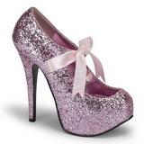 Pink Glitter 14,5 cm Burlesque TEEZE-10G Platform Pumps Schuhe