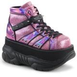 Pink Kunstleder 7,5 cm NEPTUNE-100 Plateau Gothic Schuhe Herren