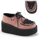 Pink Kunstleder CREEPER-216 Plateau Creepers Schuhe Damen