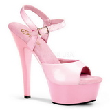Pink Lack 15 cm Pleaser KISS-209 Plateau High Heels