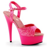 Pink Neon 15 cm Pleaser DELIGHT-609UVG Plateau High Heels