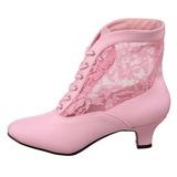 Pink Spitzenstoff 5 cm DAME-05 Damen Stiefeletten mit Schnürsenkel