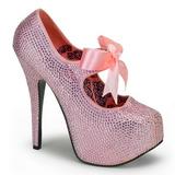Pink Strass 14,5 cm TEEZE-04R Plateau Damen Pumps Schuhe
