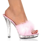 Pink Transparent 13 cm Fabulicious LIP-101-8 Plateau High Mules