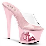 Pink Transparent 18 cm Pleaser MOON-701TG Plateau High Mules