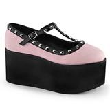 Pink leinenstoff 8 cm CLICK-07 lolita schuhe gothic plateauschuhe