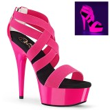 Pink neon 15 cm DELIGHT-669UV pole dance high heels schuhe