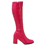 Pinke lackstiefel blockabsatz 7,5 cm - 70er jahre hippie disco kniehohe boots gogo