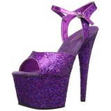 Purple 18 cm ADORE-710LG glitter platform high heels shoes