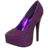 Purple Rhinestone 14,5 cm TEEZE-06R Platform Pumps Women Shoes
