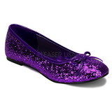 Purple STAR-16G glitter flat ballerinas womens shoes