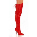 Red Leather 13 cm LEGEND-8899 Overknee Boots Flat Heels