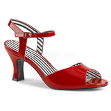 Red Patent 7,5 cm JENNA-09 big size sandals womens