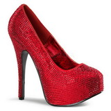 Red Rhinestone 14,5 cm Burlesque TEEZE-06R Platform Pumps Women Shoes