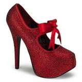 Red Rhinestone 14,5 cm TEEZE-04R Platform Pumps Women Shoes