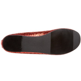 Red STAR-16G glitter flat ballerinas womens shoes