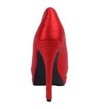 Red Satin 13,5 cm BELLA-12R Rhinestone Platform Pumps Shoes