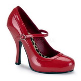 Red Varnished 12 cm PRETTY-50 Women Pumps Shoes Flat Heels
