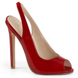 Red Varnished 13 cm SEXY-08 Sling Back Pumps Shoes