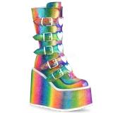 Regenbogen Glitter 14 cm SWING-230 damen cyberpunk plateaustiefel