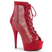 Rhinestones mesh fabric 15 cm DELIGHT lace up ankle boots in red