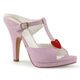 Rosa 10 cm retro vintage SIREN-09 Damen Mules Schuhe