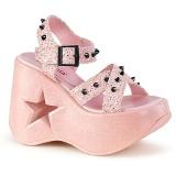 Rosa 13 cm Demonia DYNAMITE-02 lolita schuhe wedge sandaletten