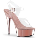 Rosa 15 cm Pleaser DELIGHT-608 Chrome Plateau High Heels