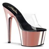 Rosa 18 cm ADORE-701 Chrome Plateau Mules Schuhe