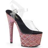 Rosa 18 cm ADORE-708MSLG glitter plateau sandaletten