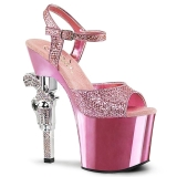 Rosa 18 cm Pleaser REVOLVER-709G Chrome Plateau High Heels