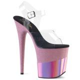 Rosa 20 cm FLAMINGO-808-2HGM glitter plateau sandaletten